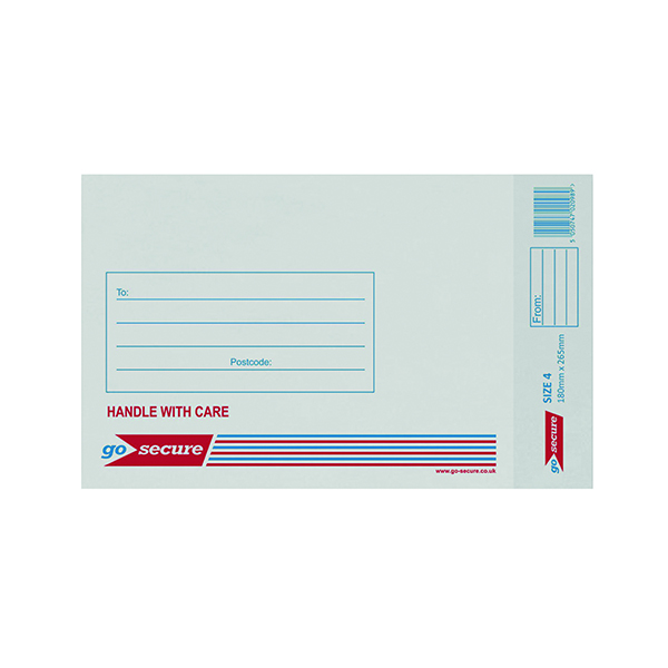 GoSecure Bubble Lined Envelope Size 4 180x265mm White (Pack of 20)