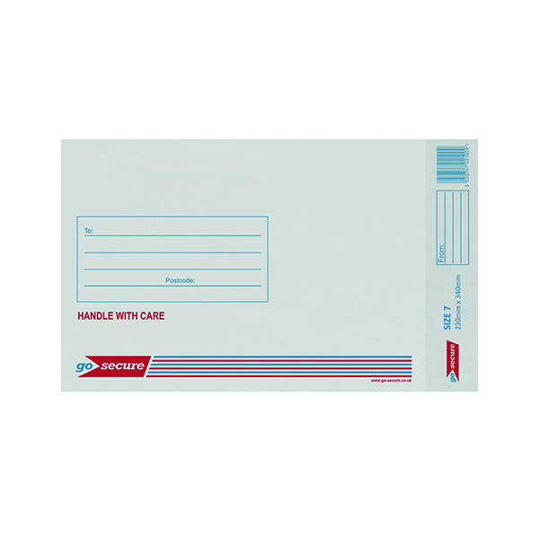 GoSecure Bubble Lined Envelope Size 7 230x340mm White (Pack of 20)