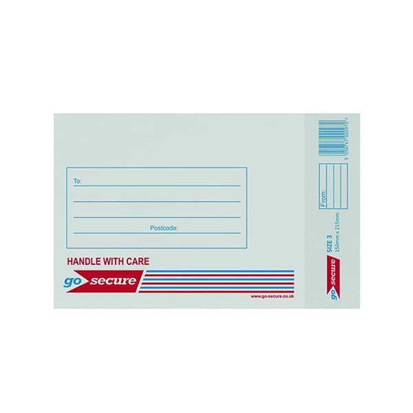 GoSecure Bubble Lined Envelope Size 3 150x215mm White (Pack of 20)