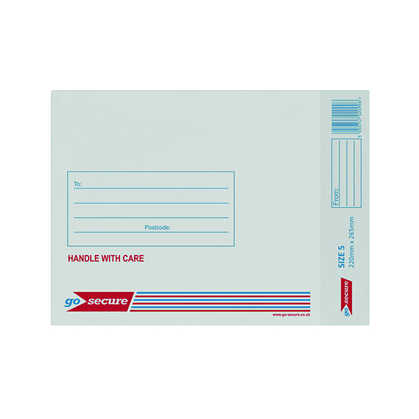 GoSecure Bubble Lined Envelope Size 5 220x265mm White (Pack of 20)