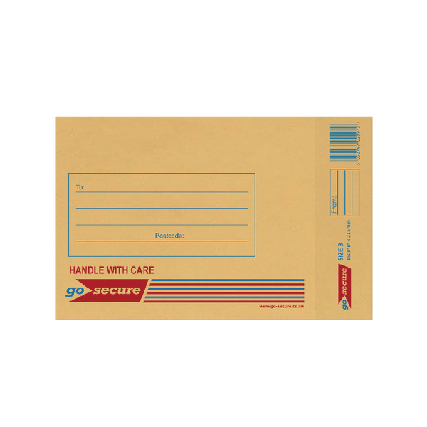 GoSecure Bubble Lined Envelope Size 3 150x215mm Gold (Pack of 20)