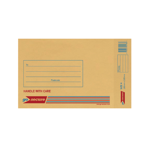 GoSecure Bubble Lined Envelope Size 4 180x265mm Gold (Pack of 20) PB02152