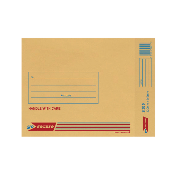 GoSecure Bubble Lined Envelope Size 5 220x265mm Gold (Pack of 20)
