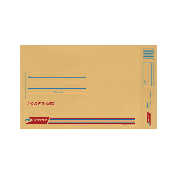 GoSecure Bubble Lined Envelope Size 7 230x340mm Gold (Pack of 20)