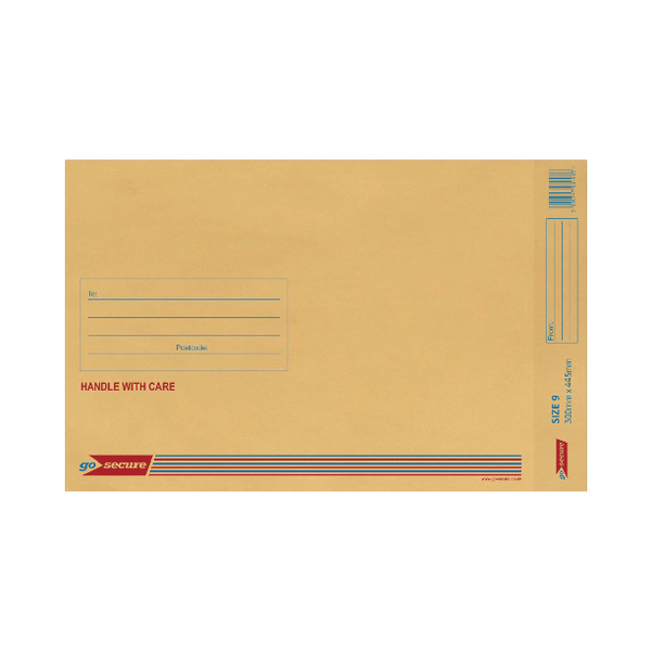 GoSecure Bubble Lined Envelope Size 9 300x445mm (Pack of 20) Gold