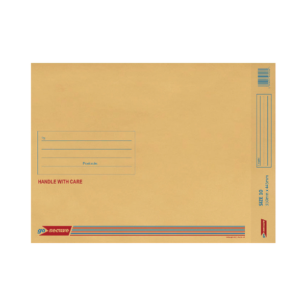 GoSecure Bubble Lined Envelope Size 10 350x470mm (Pack of 20) Gold PB02157