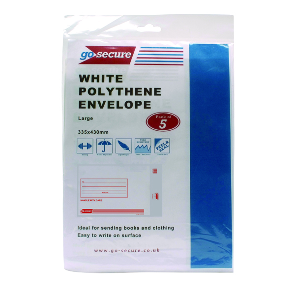 Go Secure Extra Strong Polythene Envelopes 345x430mm (Pack of 50) PB08229