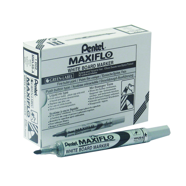 PENTEL MAXIFLO DRYWIPE WHITEBOARD MARKER PEN YMWL5S-4 ASSORTED COLOUR 4 PACK