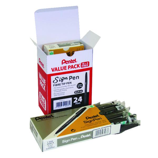 Pentel Sign Fibre Tip Pen Black (Pack of 24) S520/24-A