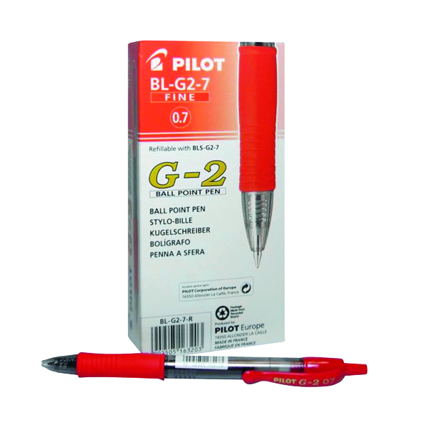 Pilot G207 Gel Ink Retractable Rollerball Pen Red (Pack of 12) G2RED