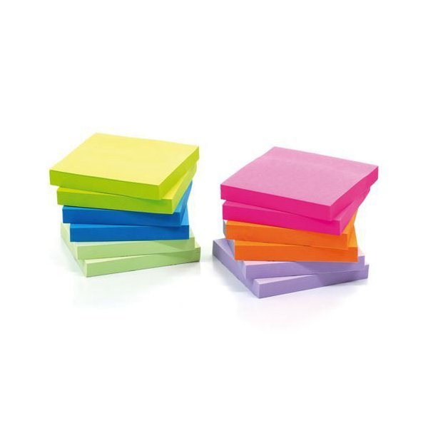 Image for Initiative Extra Sticky Z-Notes 4 Assorted Neon Colours 76 x 76mm 90 Sheets Per Pad
