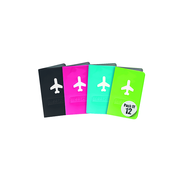 Image for Travel Log Aeroplane Passport Covers Neon Assorted (Pack of 12) 783023