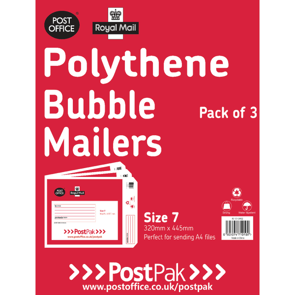 Polythene Size 7 Bubble Mailer (Pack of 13) 101-3492