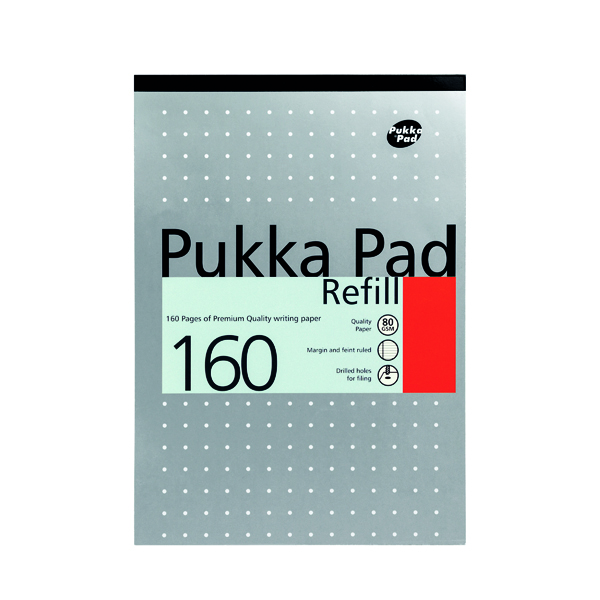 Pukka Pad Ruled Metallic Four-Hole Refill Pad Top Bound 160 Pages A4 (Pack of 6) 80/1