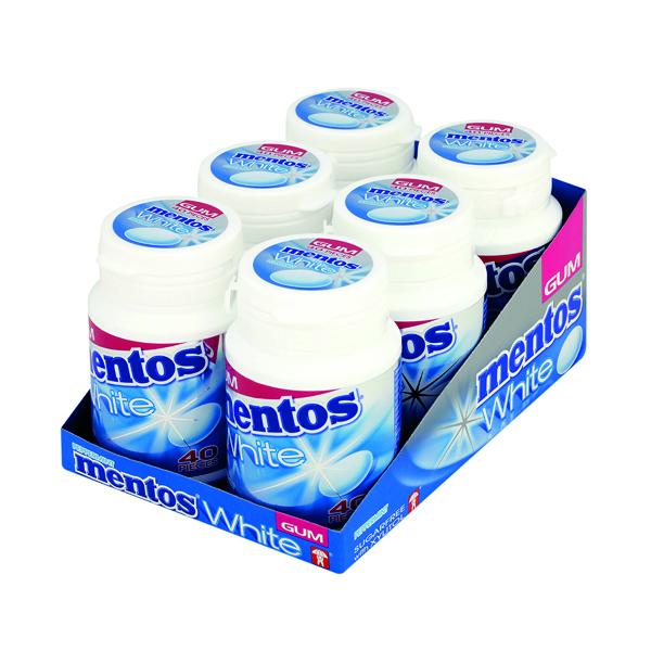Mentos White Gum Peppermint 40 Pieces Per Bottle (Pack of 6) 1619716