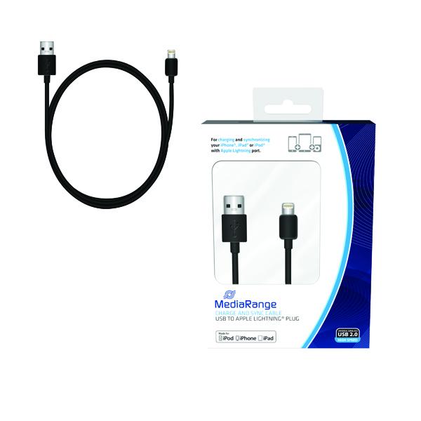 Reviva 3A Twin USB In Car Chrgr + MediaRange Chrg Sync Cbl USB 2.0 to Apple Lightng Bundle