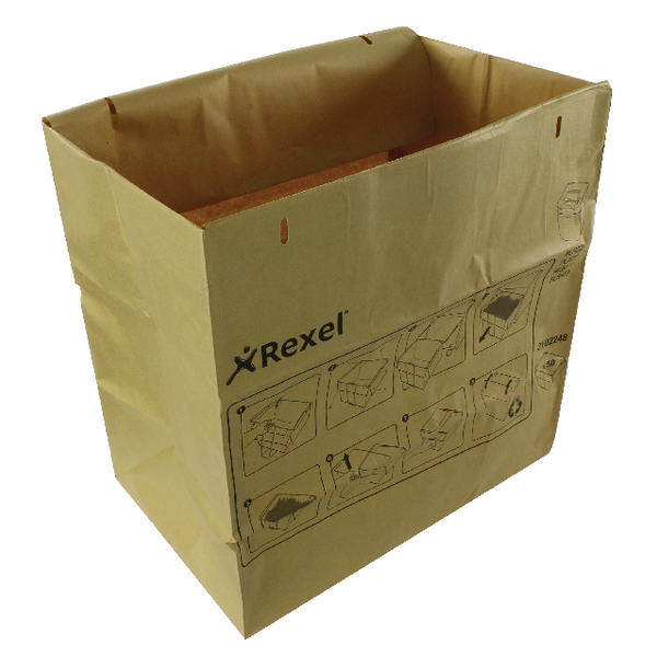 Image for Rexel Recyclable Paper Shredder Bags Brown(Pack of 50) 2102248