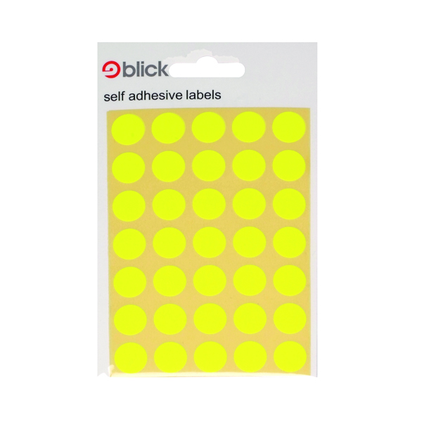 Stickers Circle Pack of 140 Fluorescent Orange 13mm Round Labels