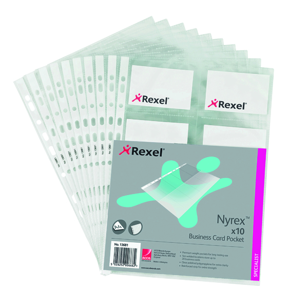 Rexel Nyrex Punched Business Card Pockets A4 (Pack of 10) 13681