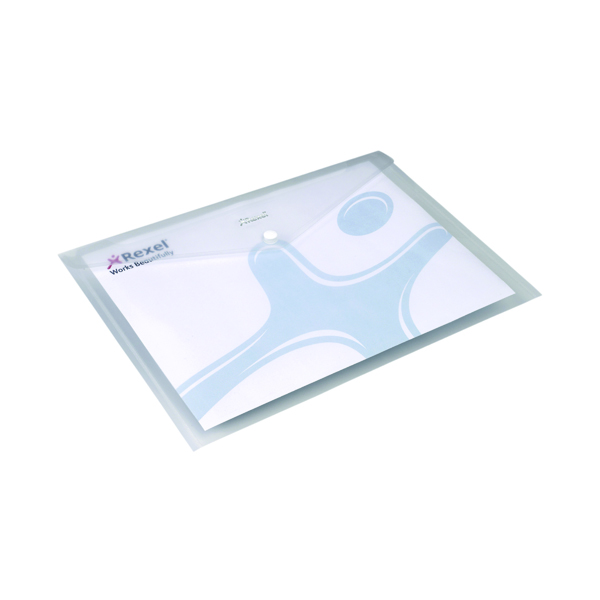 Rexel Ice Popper Wallet Folder Landscape A4 Clear (Pack of 5) 2101660
