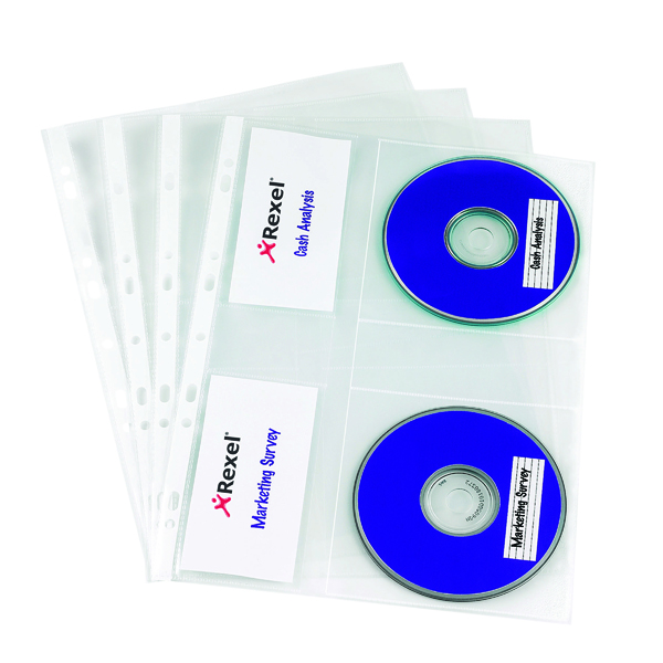 Rexel Nyrex CD/DVD Pockets Clear (Pack of 5) 2001007