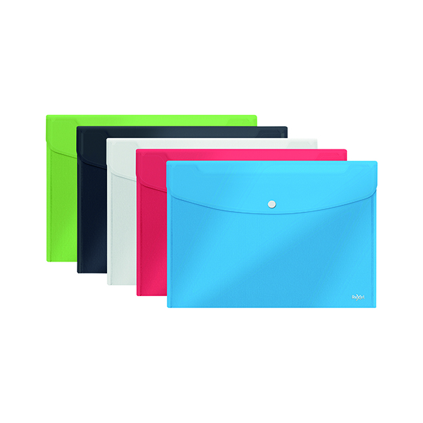 Image for Rexel Choices Popper Wallet A4 Foolscap Assorted (Pack of 5) 2115672