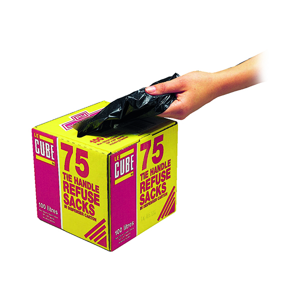 Le Cube Tie Handle Refuse Sacks With Dispenser 100 Litre Black (Pack of 75) 0481