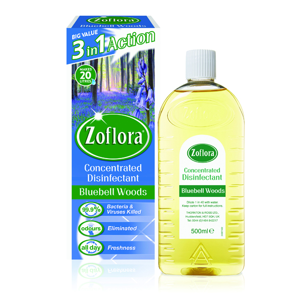 Zoflora Disinfectant Bluebell Woods 500ml (Pack of 12) RY20953