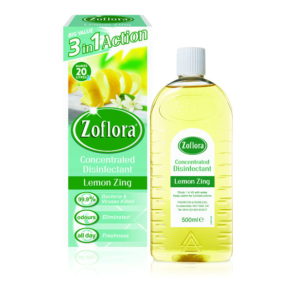 Zoflora Disinfectant Lemon Zing 500ml (Pack of 12) RY20957