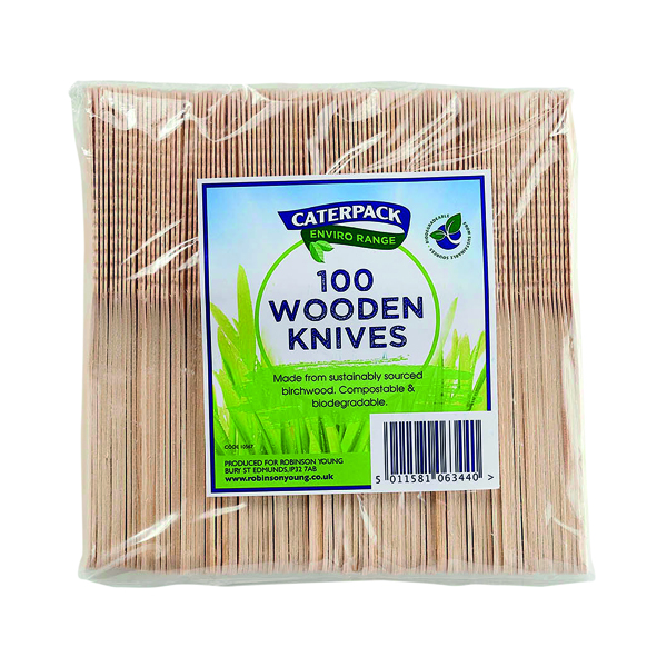 Caterpack Enviro Wooden Knives (Pack of 100) RY10567