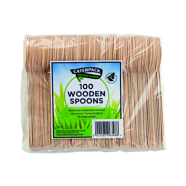 Caterpack Enviro Wooden Spoons (Pack of 100) RY10569