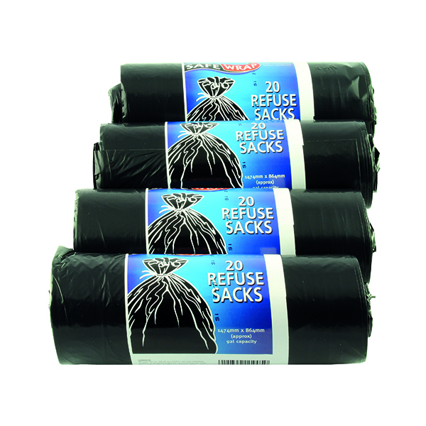Safewrap Refuse Sack 92 Litre Black (Pack of 80) 0446