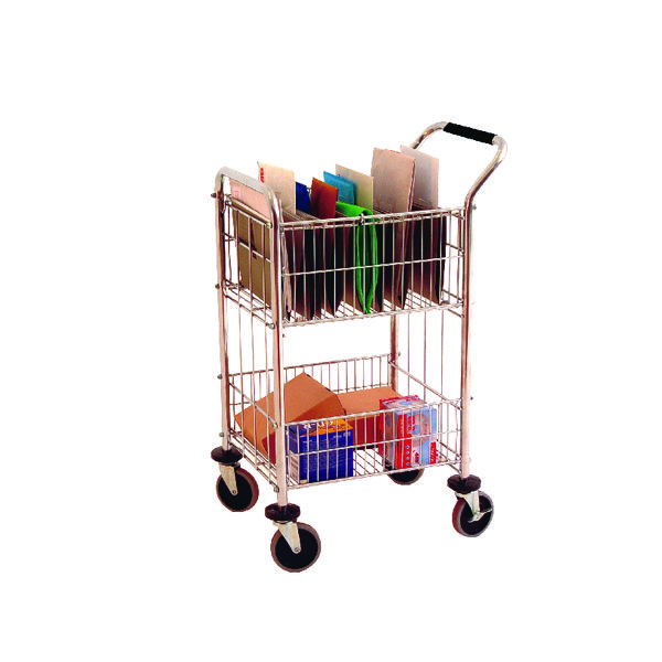 Mail Room Distribution Trolley With 2 Baskets Chrome 320537