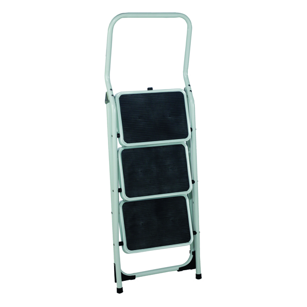 Folding Step Stool 3 Tread High Back White Aluminium 402791