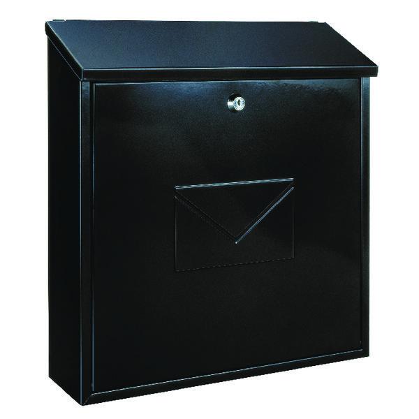 Firenze Black Steel Plate Lockable Mail Box 371791