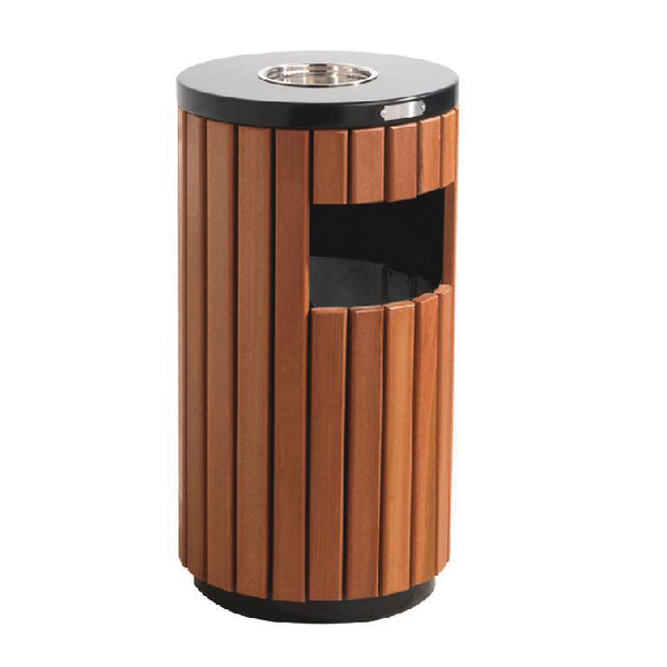 Outdoor Litter Bin Wood Effect 33 Litre 316874