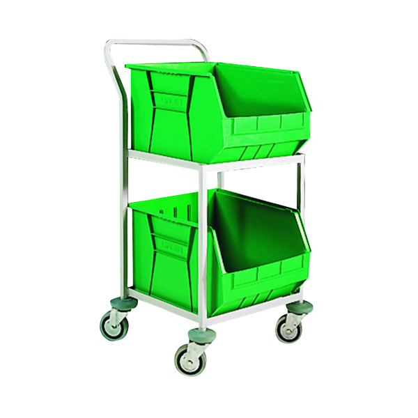 Green Mobile Storage Trolley c/w 2 Bins 321291
