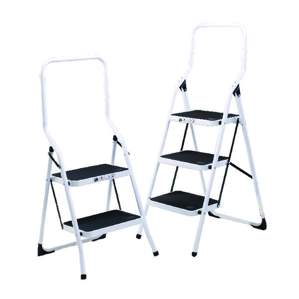 Folding Step Stool 2 Tread High Back White Aluminium 321676