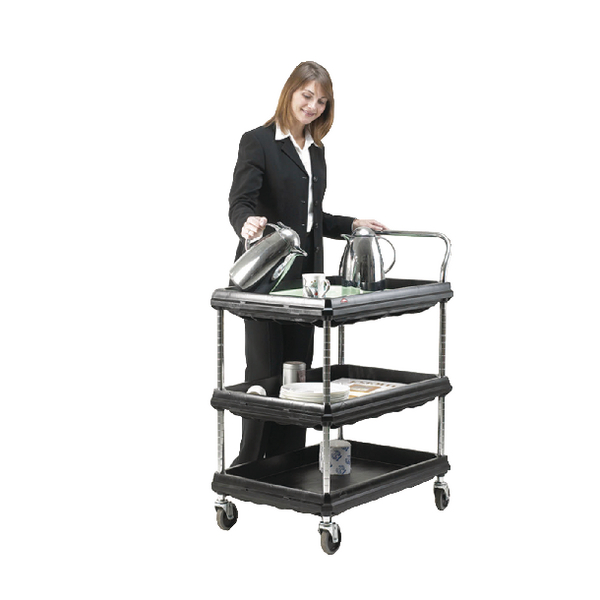 3 Tier Black H1041xW832xD546mm Deep Ledge Trolley 322444