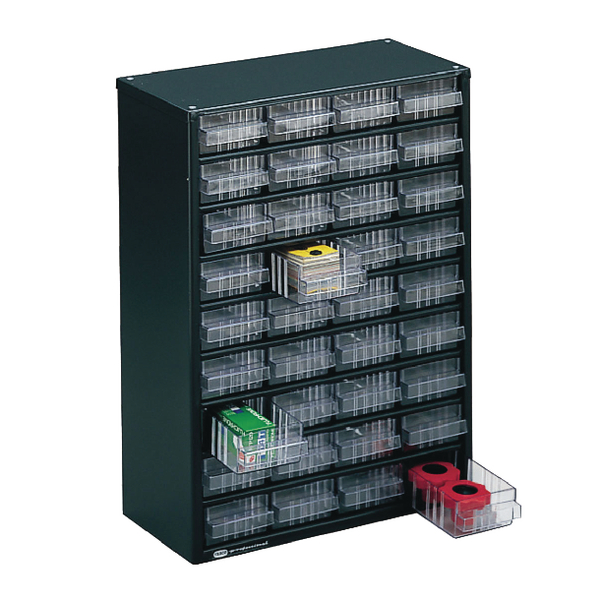 Clear 36 Drawer System Dark Grey Storage Cabinet 324160