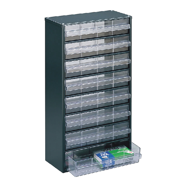 Image for Clear 8 Drawer System Dark Grey Storage Cabinet 324234