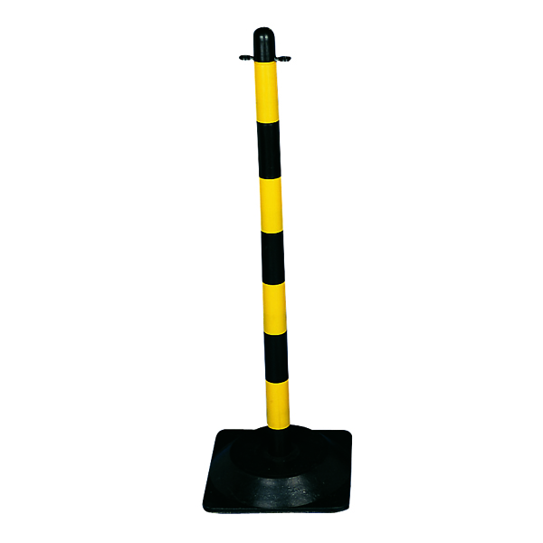 VFM Yellow/Black Freestanding Post With Square Rubber Base 328336