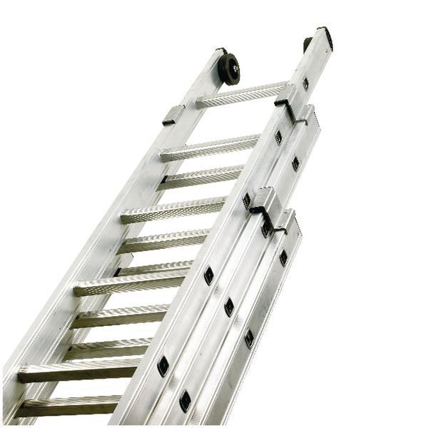 Push Up Aluminium Ladder 3 Section 14 Rungs 328668