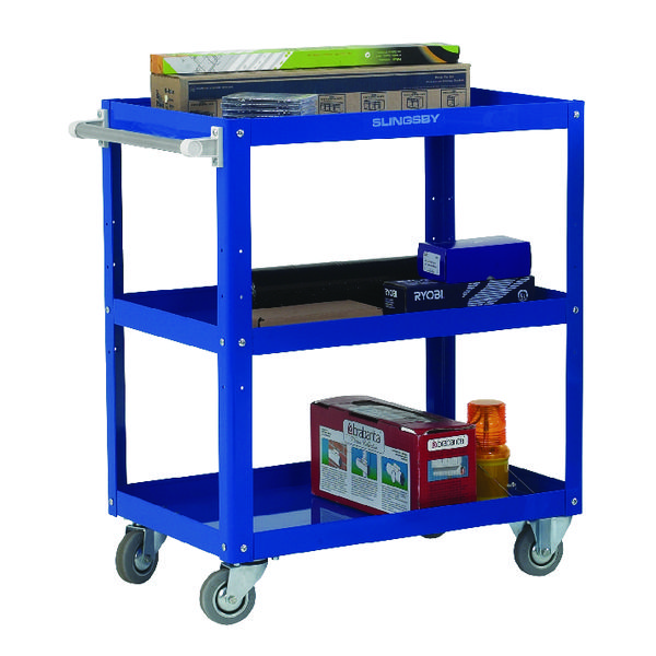 Works 3-Tier Trolley Blue (L670 x W400 x H900mm, 150kg Capacity) 329944