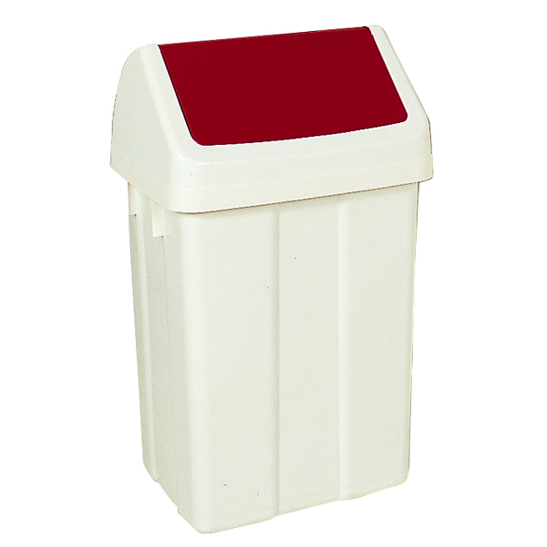 Plastic Swing Top Bin 50 Litre White With Red Lid 330352
