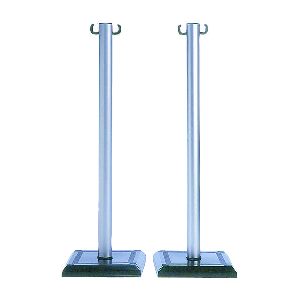 VFM Grey/Black PVC Barrier Post (Pack of 2) 349735
