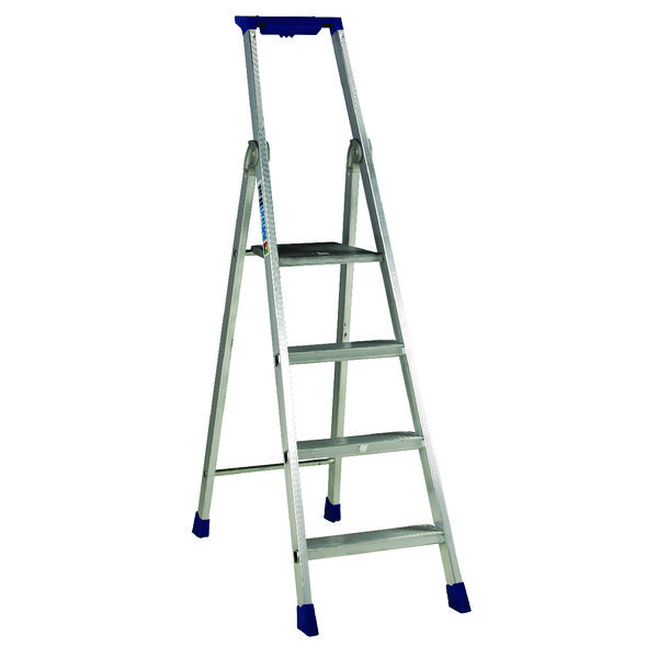 4 Ribbed Tread Platform Step Ladder Aluminium 358754