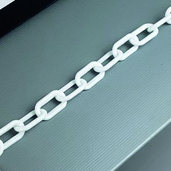 White Plastic 8mm Chain in 25 Metre Lengths - 360077