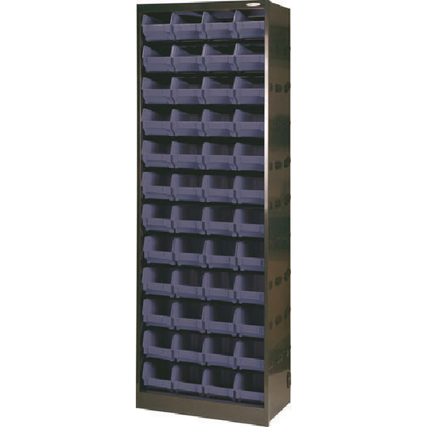 Metal Bin Cupboard With 48 Polypropylene Bins Dark Grey Black 371835