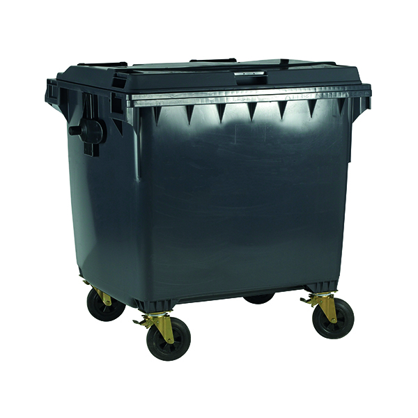 Wheelie Bin With Flat Lid 1100 Litre Grey (Dimensions: H1450 x W1400 x D1200mm) 377396